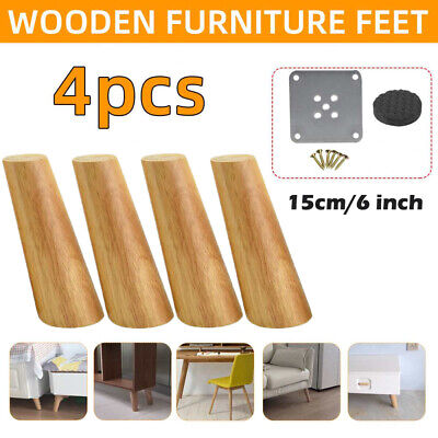 £11.99 • Buy 4pcs 6  Wooden Furniture Feet Legs Replacement For Sofa Chairs Stools Chest Bed