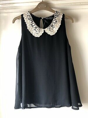 Select Black Size 10 Sleeveless Top With White Lace Collar BNWT • 4.99£