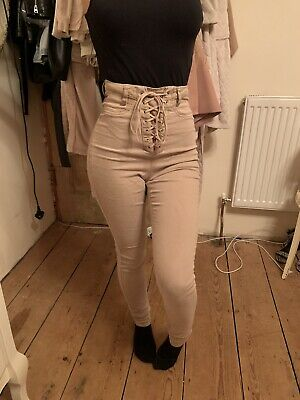 Missguided Peach/nude Tie Lace Up Jeans Size 8 • 15£
