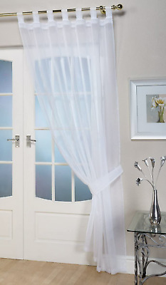 John Aird Woven Voile Tab Top Curtain Panels - Free Tieback Included (White, 60  • 8.42£