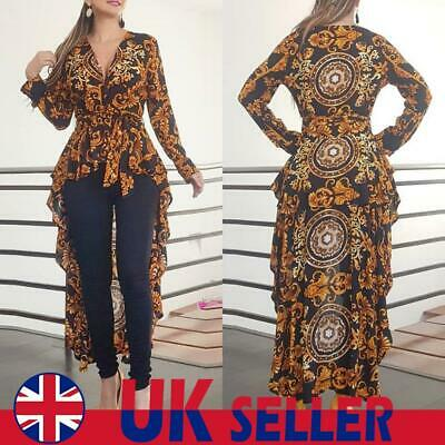 UK Women Printed Long Sleeve V Neck Shirt High Low Tops Party Dress Tunic Blouse • 12.29£