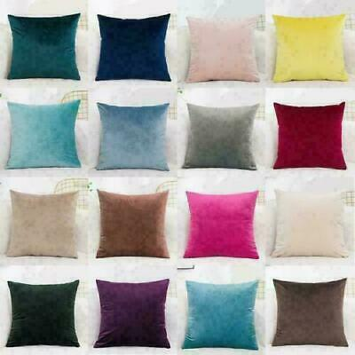 16  18  20  22  24  Soft Velvet Plain Cushion Cover Pillow Case Home Sofa Decor • 15.21£