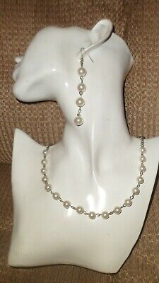 Necklace And Earing Set Silver Colour Chain With  Faux Pearls  • 2.49£