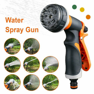 8 Function Pattern Hose Nozzles Water Spray Gun For Garden Patio UK • 7.99£