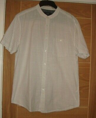 BNWOT Mens Beige Striped Short Sleeved Grandad Collar Shirt By Atlantic Bay • 3.50£