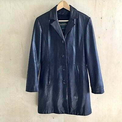 $ CDN35 • Buy DANIER Womens Leather Jacket Long Button-Up Lined W/ Removable Lining Size 6-8