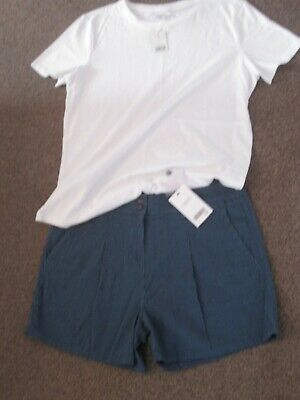 Ladies Shorts From Next And White T-shirt Size 12 Both Bnwt Blue Summer • 12.99£