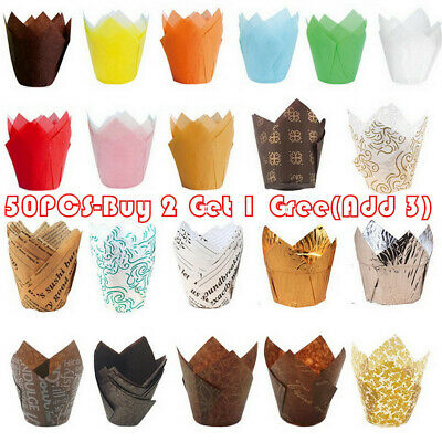 £4.99 • Buy 50Pcs Large Tulip Muffin Cases Cupcake/muffin Wraps Multiple Colours Wrapper UK