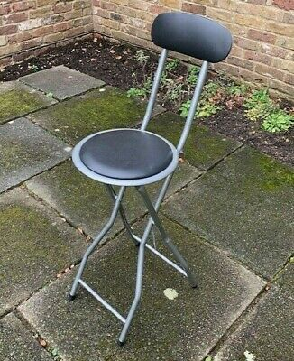 Folding Portable Chair/Stool With Back & Foot Rest • 0.99£