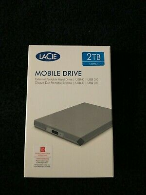 LaCie Mobile 2TB Mobile External Hard Drive In Grey - USB3.0 USB-C • 85£
