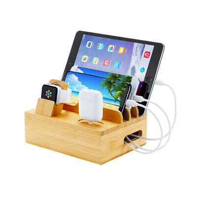 AU69.99 • Buy 5 Port Bamboo Multi-Device Charging Dock For Iwatch/iPhone/iPad/AirPod AU STOCK