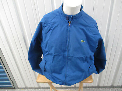 VINTAGE LACOSTE X IZOD ROYAL BLUE SEWN ZIP-UP LARGE JACKET 80s PREOWNED EXC • 35.76£