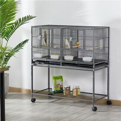 £96.69 • Buy Stackable Wide Bird Cage Divided Breeder Cage For Budgie Canary Cockatiel Black