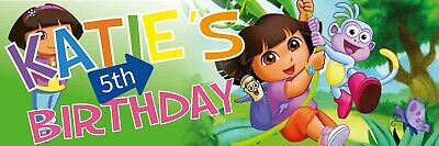 Dora The Explorer Birthday Banner 3x1 Foot  - Indoor Or Out PVC With Eyelets • 9.99£