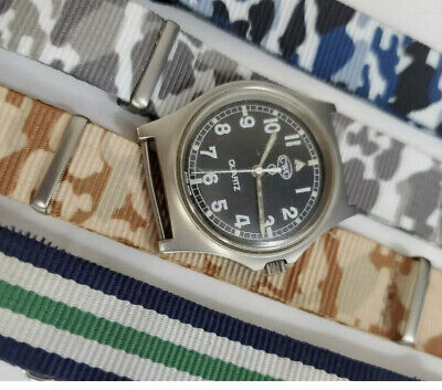 $ CDN531 • Buy CWC G10  Semi Fatboy British Army Issued Watch 1984 With 4 NATO Straps
