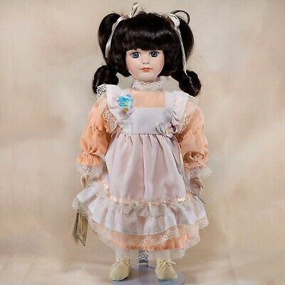 $ CDN12.47 • Buy Special Expressions Collectors Porcelain Girl Doll 15  Dark Brown Hair Blue Eyes