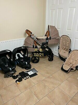 Icandy Peach 4 Twin Pram Butterscotch Tandem Double Pushchair Travel System 3in1 • 660£
