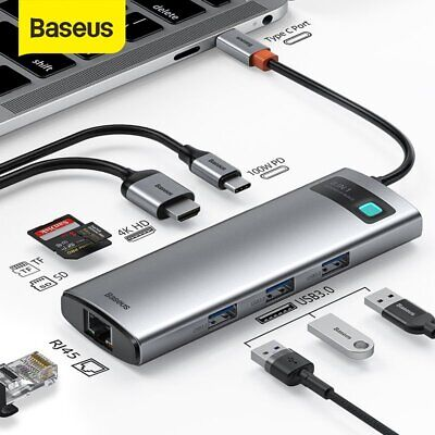AU49.07 • Buy Baseus USB C HUB Type-C To HDMI USB 3.0 RJ45 Adapter PD Charger Dock For MacBook