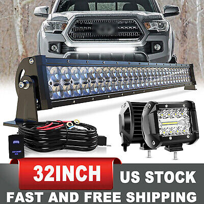 $72.99 • Buy For 05-15 TOYOTA Tacoma Bumper Hidden Grille 32  IN LED Light Bar +4  Pods +Wire