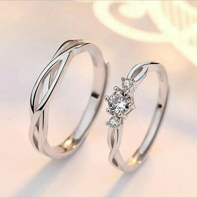 £4.99 • Buy Genuine 925 Sterling Silver Couple Rings Love Promise Matching Engagement Rings