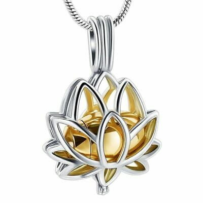 $ CDN16.43 • Buy Lotus Flower Necklace Mini Urn Stainless Steel Cremation Jewelry Pendant For Ash