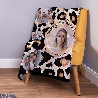 £26.99 • Buy Personalised Leopard Print Mother's Day Photo Design Soft Fleece Throw Blanket
