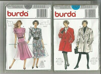 2 X Burda Ladies Dresse/coat Dressmakers Patterns Size 10-20  4920/4952 • 5£