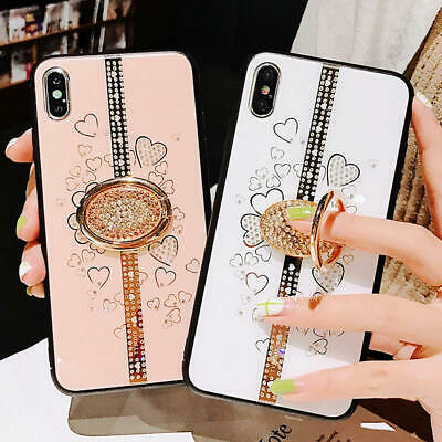 AU10.99 • Buy Lady Bling Diamond With Ring Stand Case Cover For IPhone X XS Max XR 6 7 8 Plus