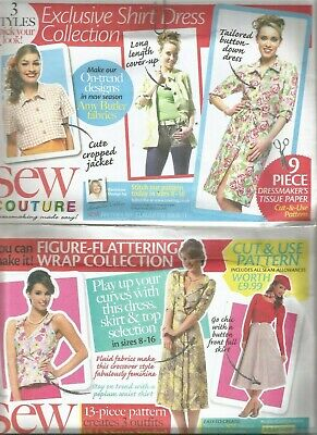 3 X Sew Couture Ladies  Dress/top/skirt   Dressmakers Patterns Size 8-16 • 5£
