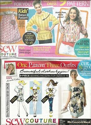 3 X Sew Couture Ladies  Dress/top/waistcoat   Dressmakers Patterns Size 8-16 • 5£
