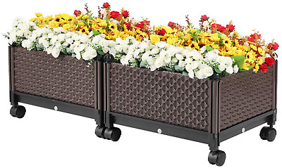 Elevated Plastic Wheeled Raised Garden Bed Planter Brown Set Of 2 • 90£