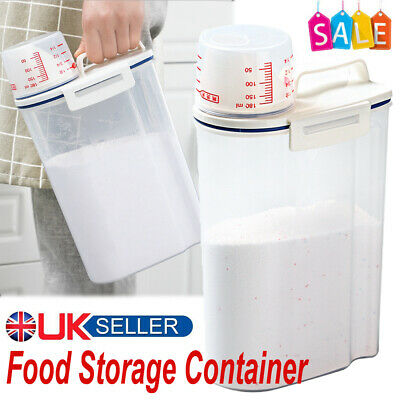 £7.98 • Buy Food Container Dog Cat Animal Dry Feed Seed Storage Box Bin Measuring Cup Uk