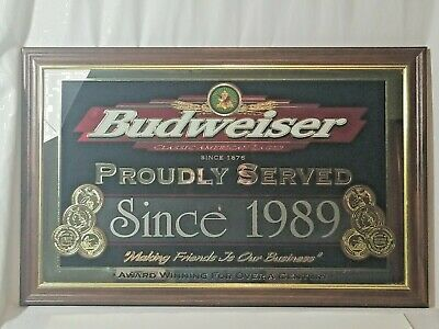"$ CDN216.42 • Buy VINTAGE BUDWEISER ""PROUDLY SERVED"" MIRROR BEER SIGN 21X33 , Date Can Be Replaced"