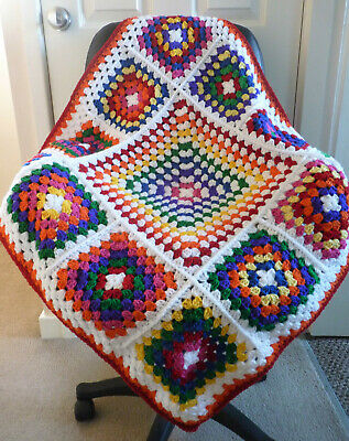 Crochet Granny Square Baby Blanket Rainbow Pram Car Baby Shower Gift 32 X 32 Ins • 15.95£