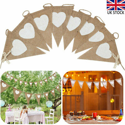 Jute Hessian Burlap Rustic Vintage Wedding Bunting Banner Flags Party Decor • 6.09£