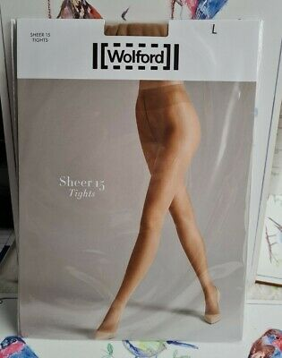 Wolford Sheer 15 Tights In Sand Size Large  • 14£
