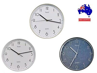 AU15.99 • Buy 30cm Large Wall Clock Quartz Round Square Wall Clock Silent Battery Operated AU
