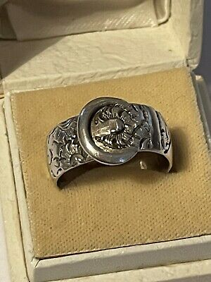 Victorian 1890 Sterling Silver Belt Buckle Band Ring Size R Ladies Men's • 2.20£