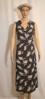 SIZE 12 Women's Navy Blue Floral Midi Length Sleeveless Tie Belt Ruffle Dress • 7.50£