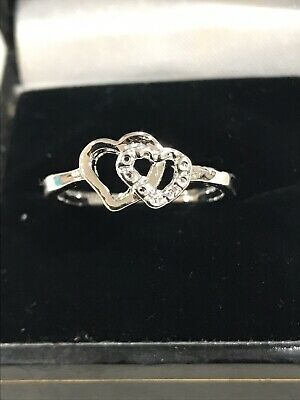 (x) Ladies 925 Silver Love Heart Ring Size7  • 4.99£