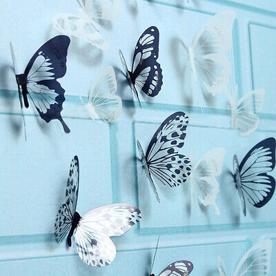 AU8.33 • Buy 18Pcs 3D Black And White Butterfly Sticker Art Wall Decal Home Decor AU Hot