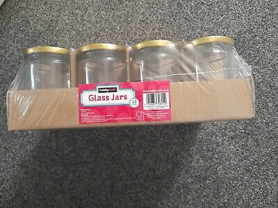 🔥Brand New 12x 300ml Glass Jars With Gold Lids For Jam Or Candle Making🍓💗 • 4£