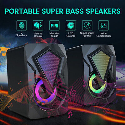 PC Computer Laptop Gaming Bass Speakers USB Stereo Colorful LED Lights Wired UK • 10.99£