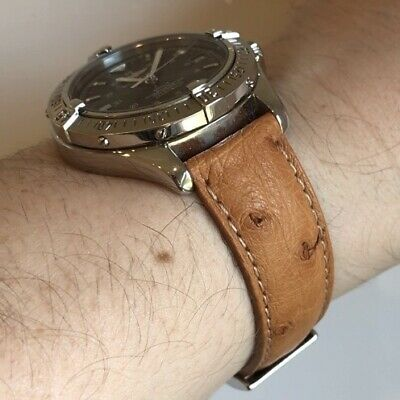 Genuine Ostrich Leather Watch Strap 18mm Tan Italian Made Rolex Omega Tissot • 45£