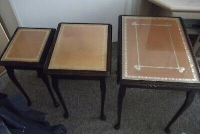 Set Of Mahogany With Tan Leather Inlaid With Glass Covered Top Nest Of 3 • 45£