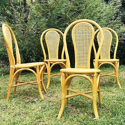 AU240 • Buy 4x Bentwood Style Rattan Wicker Dining Chairs Vintage Retro Mid Century