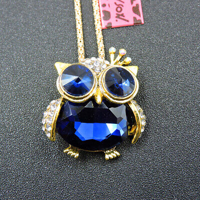 $ CDN1.25 • Buy New Blue Enamel Exquisite Owl Crystal Betsey Johnson Pendant Sweater Necklace