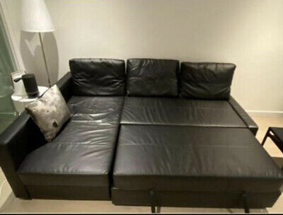 IKEA Black Leather Chair Sofa Bed With Storage. Used Excellent Condition • 300£