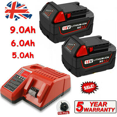 4X For Milwaukee M18 Lithium XC 9.0 Ah Extended Capacity Battery Pack 48-11-1852 • 46.99£
