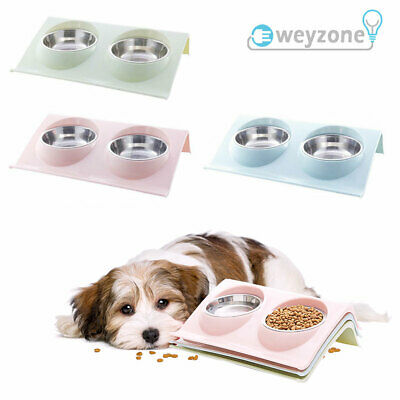 £7.89 • Buy Double Bowls Raised Stand For Cat Pet Dog Puppy Non-Slip Splash Feeder Food Bowl